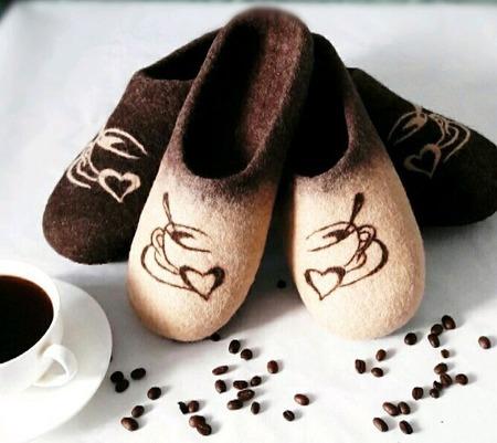 """Валяные тапочки """"Кофетайм"""" ручной работы на заказ"""