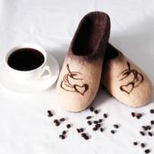 """Валяные тапочки """"Кофетайм"""""""