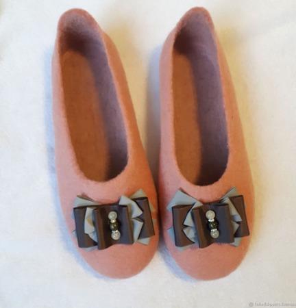 Валяные тапочки балетки ручной работы на заказ