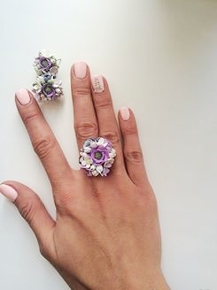"""Комплект, серьги и кольцо """"Нежный цветочный"""" ручной работы на заказ"""