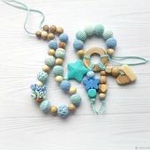 Набор прорезыватель и слингобусы мятные голубые