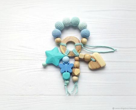 Набор прорезыватель и слингобусы мятные голубые ручной работы на заказ