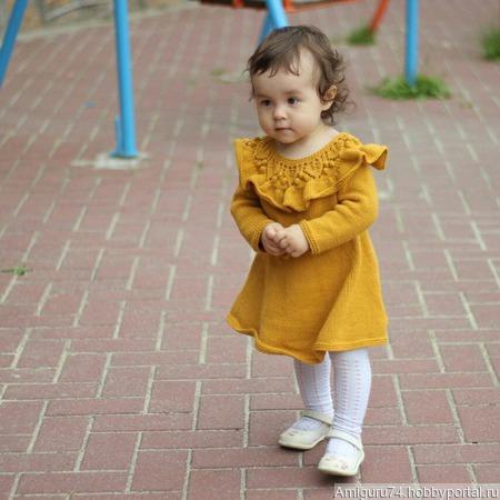 """Мастер класс вязаное платье для девочки """"Платье с воланом"""" ручной работы на заказ"""