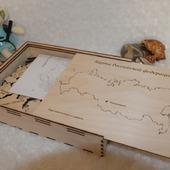 Карта России из дерева в подарочной  упаковке