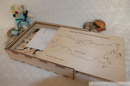 Карта России из дерева в подарочной  упаковке ручной работы на заказ