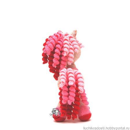 Вязаная игрушка Единорожка Розовая Карамелька ручной работы на заказ