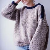 Дизайнерский вязаный свитер оверсайз ручной вязки в Москве