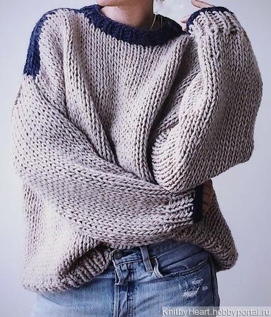 Дизайнерский вязаный свитер оверсайз ручной вязки в Москве ручной работы на заказ