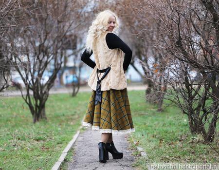 Шерстяная юбка солнце теплая ручной работы на заказ