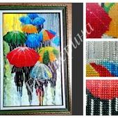 """Картина, вышитая бисером """"Веселые зонтики"""""""