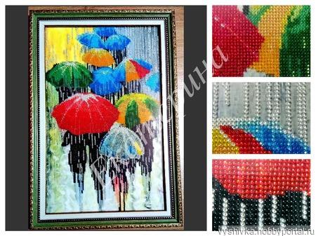 """Картина, вышитая бисером """"Веселые зонтики"""" ручной работы на заказ"""