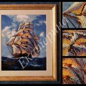 """Картина, вышитая бисером """"Корабль"""""""