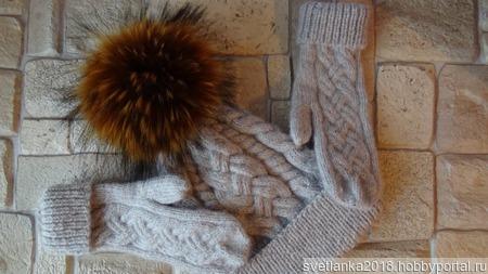 Комплект шапка с варежками из кашемира ручной работы на заказ