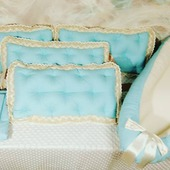 Бортики в детскую кроватку, постельное белье, гнездышко для новорожденного