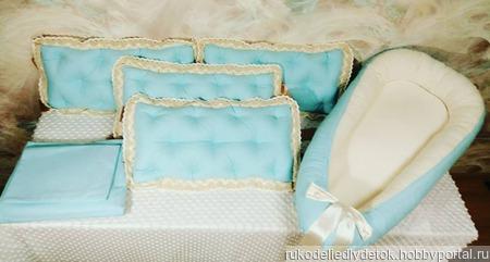 Бортики в детскую кроватку, постельное белье, гнездышко для новорожденного ручной работы на заказ