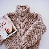 Вязаный свитер крупной вязки ручной работы