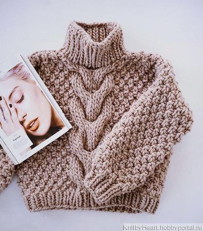 Вязаный свитер крупной вязки ручной работы ручной работы на заказ