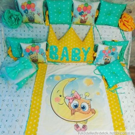 Бортики в детскую кроватку, постельное белье, балдахин ручной работы на заказ