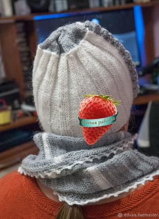 Комплект: бактус, митенки и шапка ручной работы на заказ