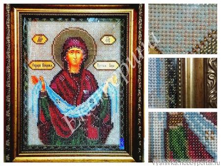 """Вышитая картина """"Покров Пресвятой Богородицы"""" ручной работы на заказ"""