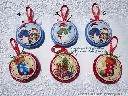 """Елочные игрушки из фетра """"Рождественские зарисовки"""" ручной работы на заказ"""