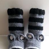 """Вязаные носки """"Еноты"""""""