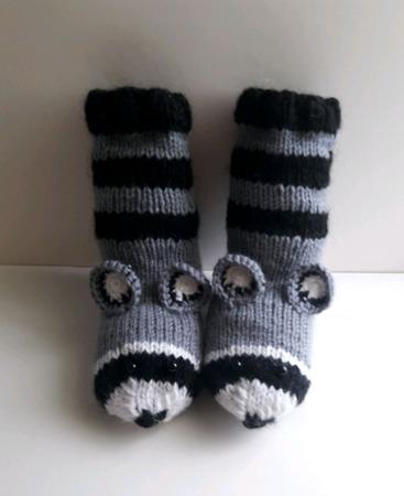 """Вязаные носки """"Еноты"""" ручной работы на заказ"""
