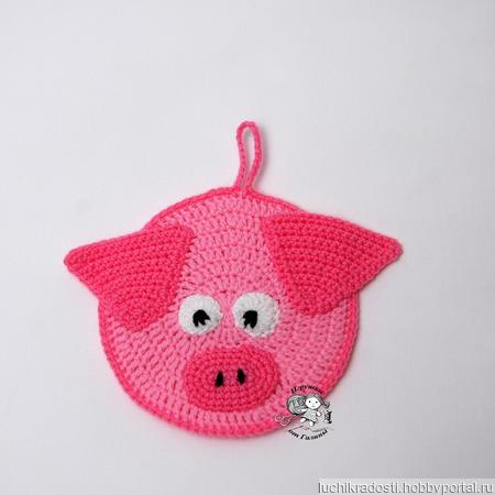 Вязаные прихватки Свинки - символ 2019 года ручной работы на заказ