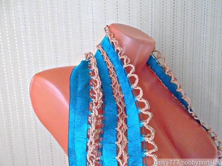 """Бирюзовый вязаный крючком палантин ручной работы """"Бирюзовый"""" модель 3 ручной работы на заказ"""