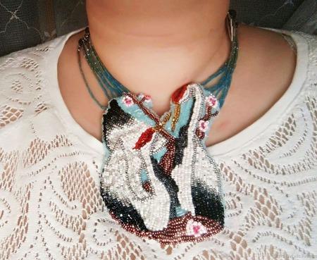 """Ожерелье """"Журавли"""" ручной работы на заказ"""