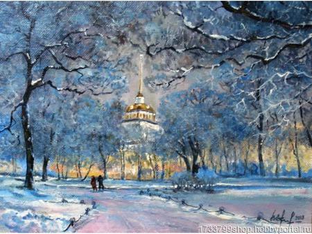"""Картина """"Адмиралтейство зимой"""" ручной работы на заказ"""