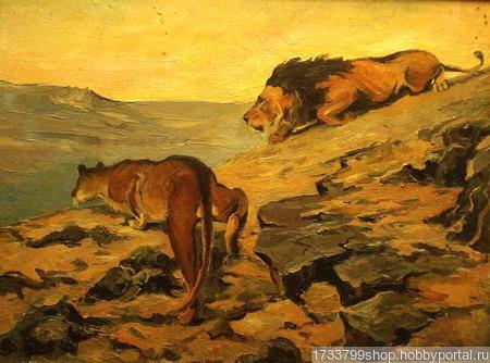 """Картина """"Хищники пустыни"""" ручной работы на заказ"""