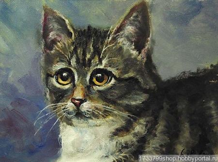 "Картина ""Серый кот"" ручной работы на заказ"