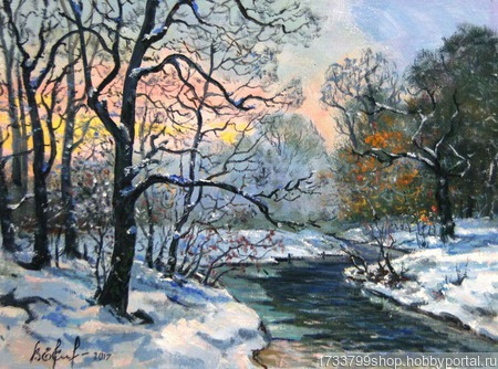 "Картина ""Зимний закат"" ручной работы на заказ"