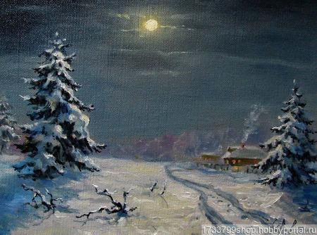"""Картина """"Зимнее полнолуние"""" ручной работы на заказ"""