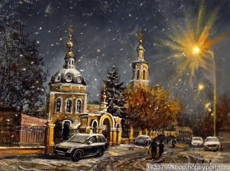 """Картина """"Ночной снегопад в Москве"""" ручной работы на заказ"""