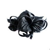 "Заколка автомат цветок для волос ""Черная Орхидея"" черная кожа замша"