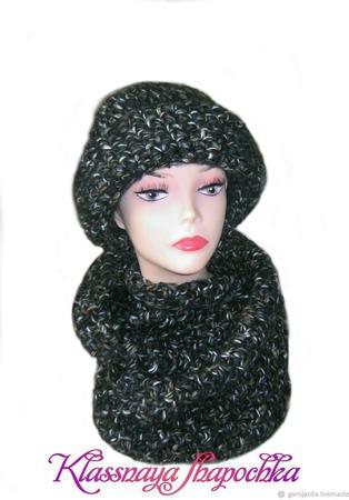 Шапка с отворотом и шарф-снуд ручной работы на заказ