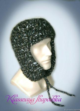 Шапка-ушанка вязаная, модель 2 ручной работы на заказ