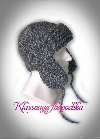 Шапка-ушанка вязаная, модель 7 ручной работы на заказ