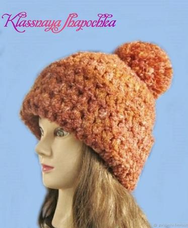 Рыжая вязаная шапка ручной работы на заказ