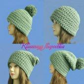 Вязаная шапка, 4 варианта в одной модели