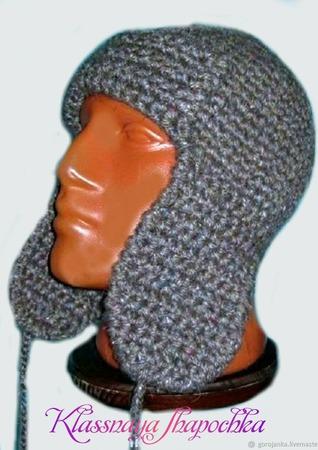 Шапка-ушанка вязаная мужская ручной работы на заказ
