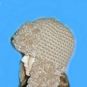 Вязаная шапка-ушанка с меховой пряжей