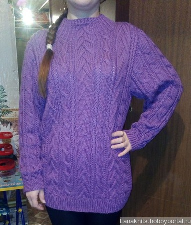 Женский удлиненный свитер-туника ручной работы на заказ