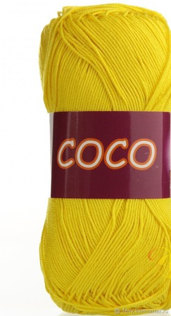 Пряжа Coco 3895 - салатово-желтый ручной работы на заказ