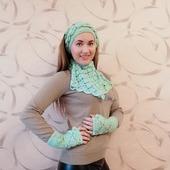 Комплект шарф, повязка на голову, митенки