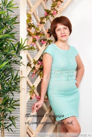 """Платье-туника """"Нежная лазурь"""" ручной работы на заказ"""