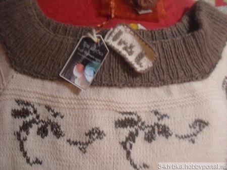 """Авторское вязаное платье """" В шоколаде"""" с вышивкой ручной работы на заказ"""