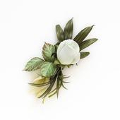 Брошь белая роза и каллы, букет цветов ручной работы